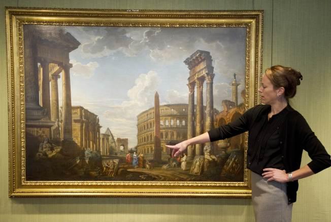 圖為佳士得2011年拍賣帕尼尼的另一幅羅馬廢墟畫作。(Getty Images)