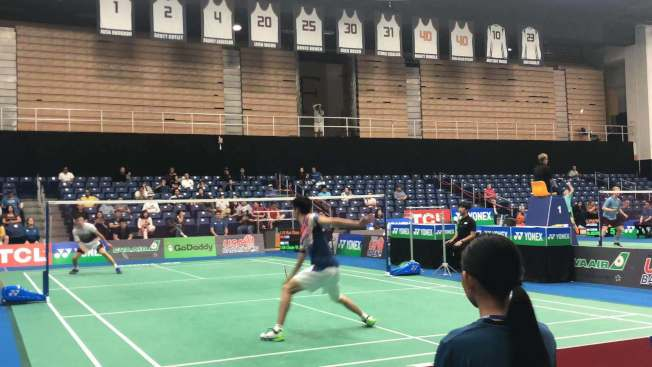 中華台北林俊易和中國隊的劉海超之間的比賽異常激烈。(記者王若然/攝影)