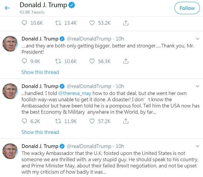 川普總統愛發推文,但對批評、嘲笑他的推特用戶一律拉黑,聯邦第二巡迴上訴法院9日裁定違憲,禁止總統任意拉黑用戶。(取自川普推特)