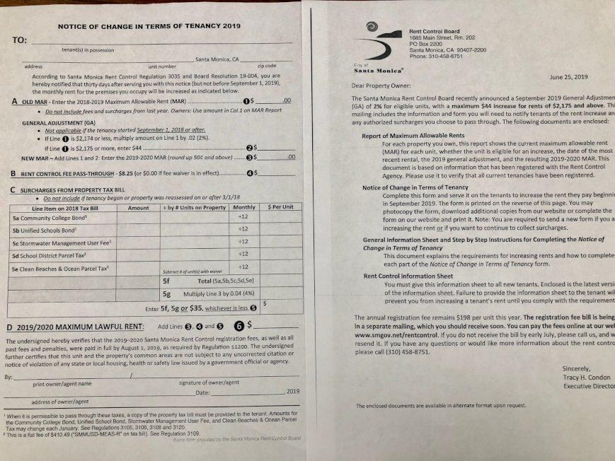 聖塔蒙尼卡市實施嚴格的租金管制法規,每年9月1日調整房租漲幅,2019年為2%,房東近日都收到市府寄來的書面通知與申報表格,租金低於2174元的公寓,可漲租2%,租金2175元或以上的公寓只能漲租44元。(記者胡清揚/攝影)