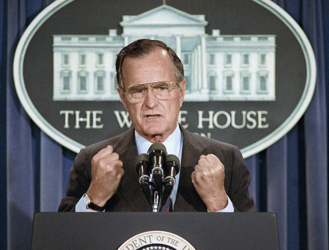 1989年6月5日美國總統布希在白宮譴責中國政府鎮壓學生。(美聯社)