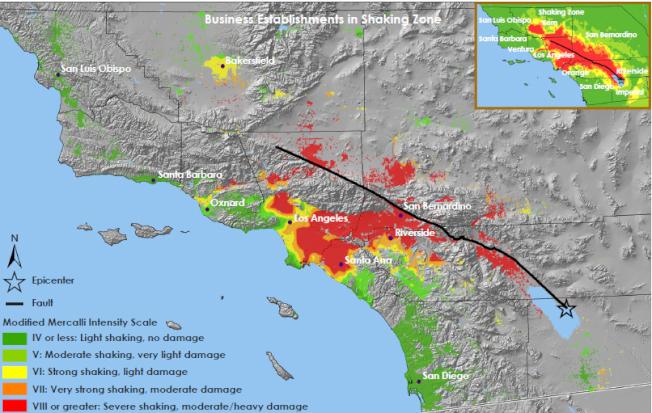 洛杉磯縣1000萬人生活在地質斷層上。(美國地質調查局提供)