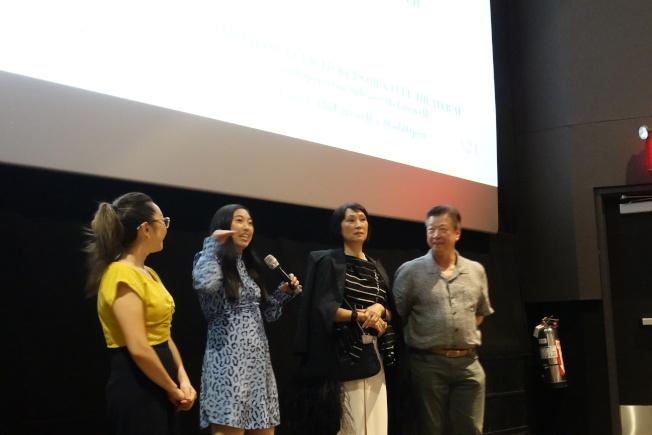 王子逸(左一起)、林家珍、林曉杰、馬泰出席電影放映活動。(記者金春香/攝影)
