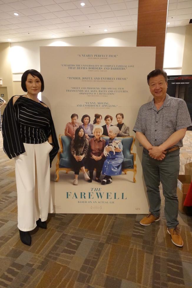 林曉杰(左)與馬泰參加電影放映活動。(記者金春香/攝影)
