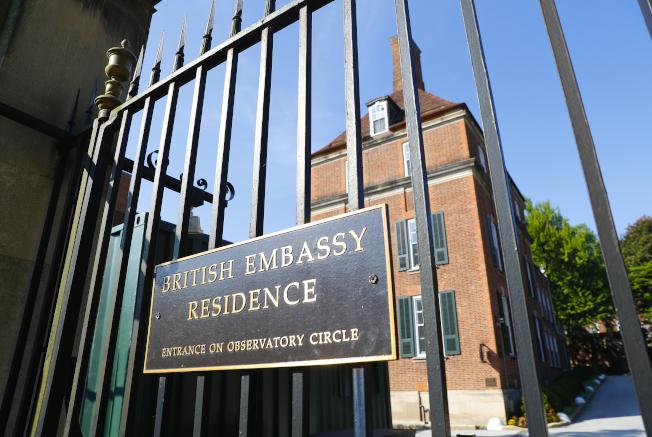 英國駐美大使官邸。(美聯社)