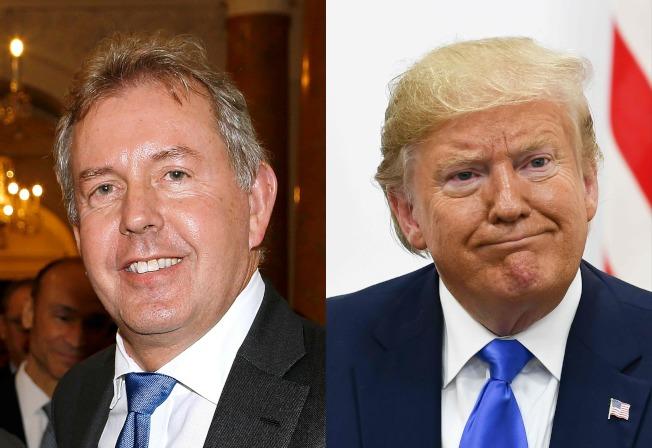 因為發回倫敦的電文批評川普(右圖)政府「無能」,引起白宮強烈反彈,英國駐美大使達洛許(左圖)宣布辭職。(Getty Images)