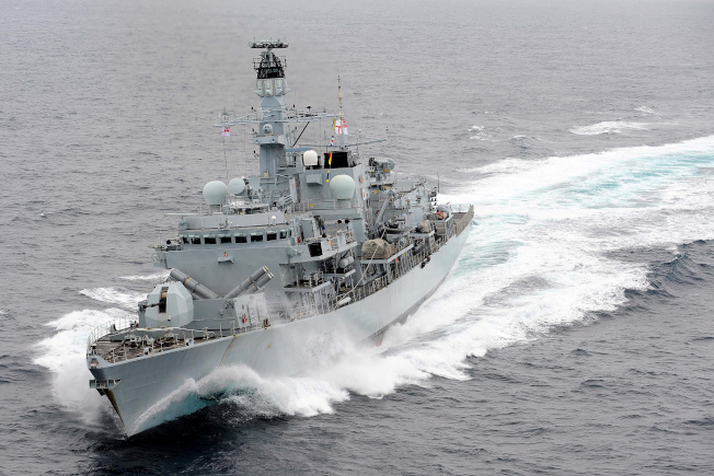 英國巡防艦蒙特羅斯公爵號在地中海巡航。路透