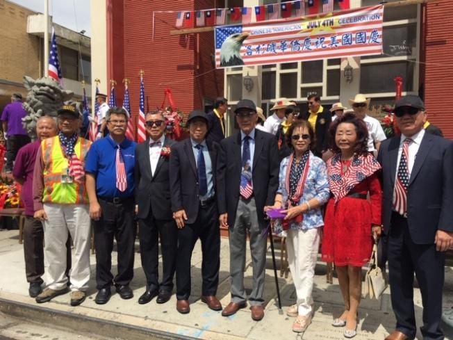 僑團代表參加南加州傳統僑社美國國慶升旗儀式。(記者楊青╱攝影)