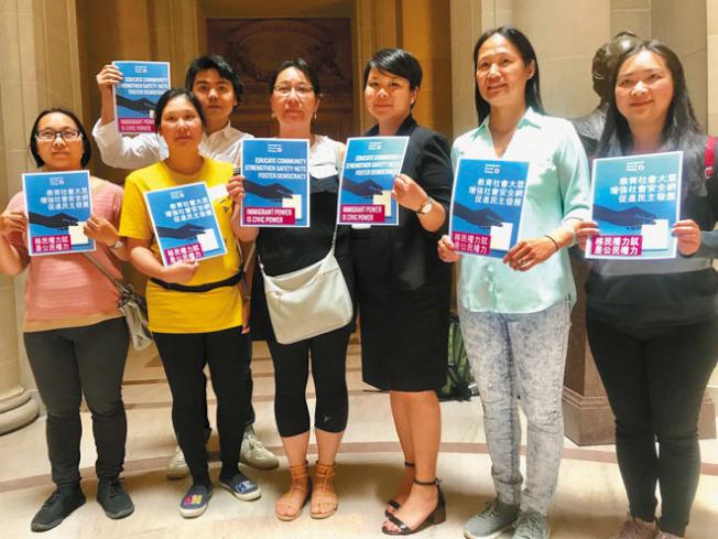 華人權益促進會向市府積極爭取預算來開展保護移民社區的工作。(記者黃少華/攝影)