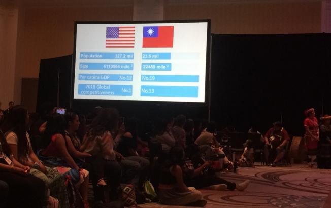 2019 Unity年會的文化展演中,LUMA台灣原住民青年播放介紹台灣及美國地理和人口等資訊影片。(記者陳文迪/攝影)