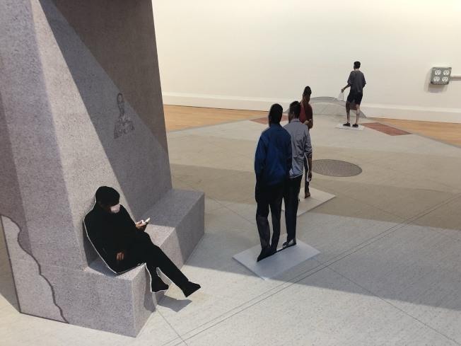 「共享空間」華埠珠江百貨畫廊開展。(記者張晨/攝影)