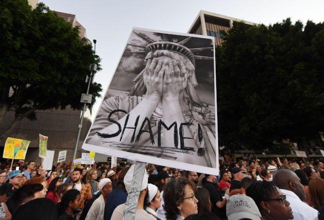 示威者在洛杉磯舉著標語,連自由女神也「丟臉」。(Getty Images)