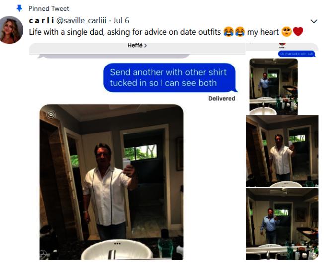單親父親意外在推特上爆紅,原因竟然是因為女兒將煩惱著約會要穿什麼的父親照片放到推特上。(取自推特)