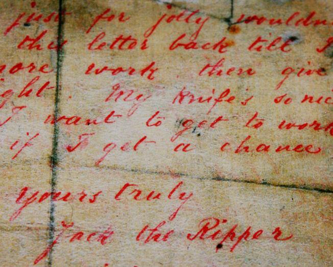 「開膛手傑克」寫給警方的信。(Getty Images)