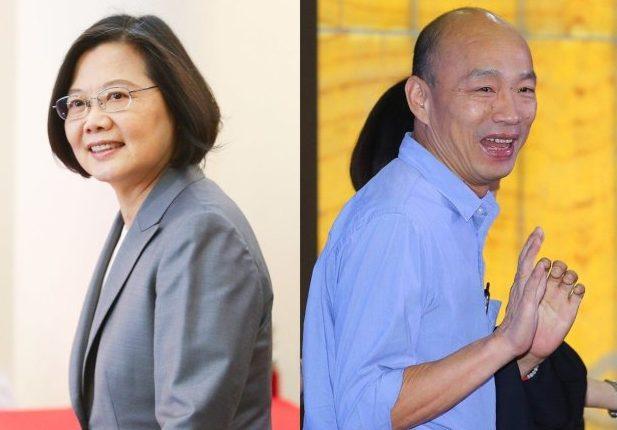 高雄市長韓國瑜代表國民黨(右)出線參選,將對決現任總統蔡英文。 (記者王騰毅、陳柏亨/攝影)