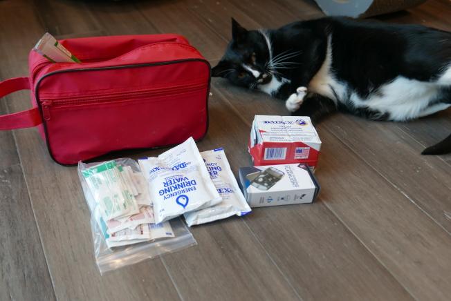 寵物主人們在給自己準備逃生應急包時,也別忘了毛小孩。(記者李雪/攝影)