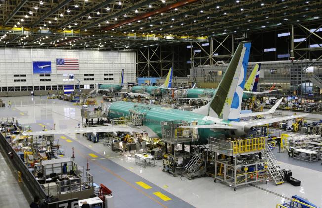 西雅圖波音廠的波音737 Max飛機。(美聯社)