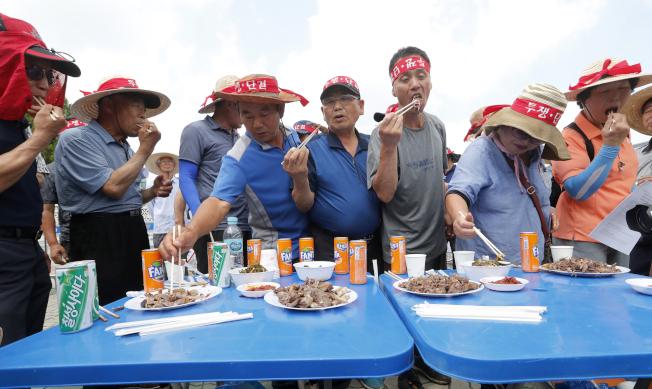 南韓國會日前審議禁止屠食狗肉提案,場外一批支持食狗肉的狗農到埸抗議,並大口吃狗肉。(美聯社)
