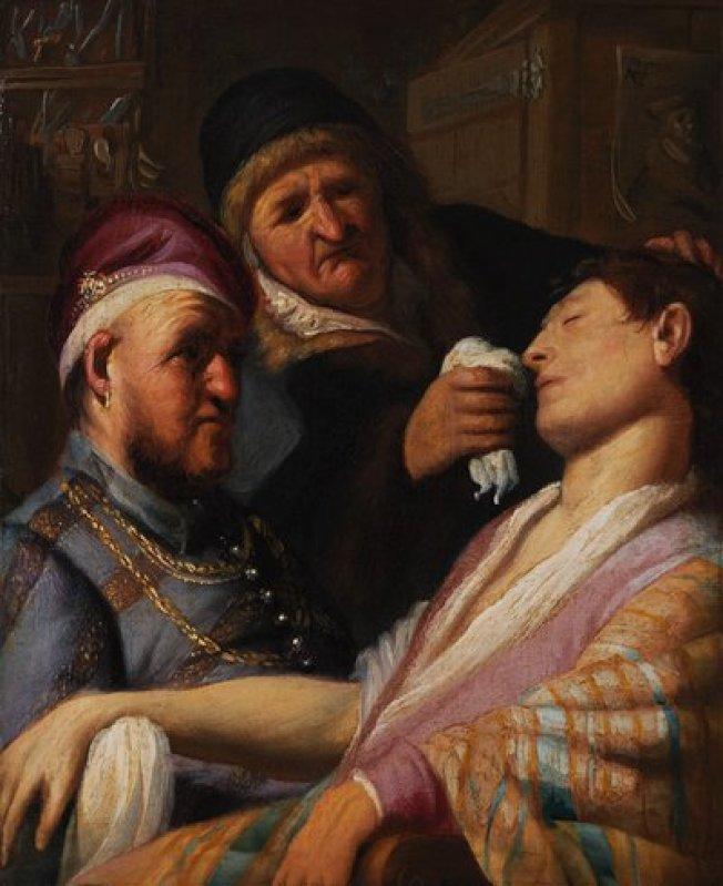 在一名老婦家裡的乒乓球桌下發現的一幅破舊畫作,原來是荷蘭大師林布蘭的原作「無意識的病人」。(取自推特)