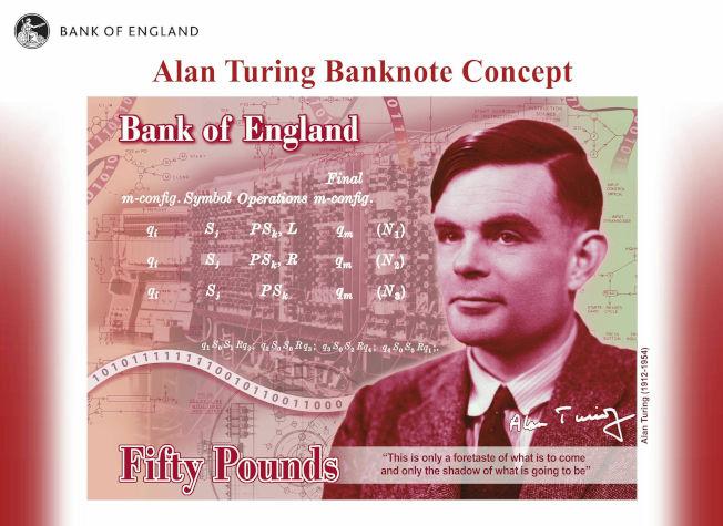英國即將改版的50鎊新鈔今天揭曉,曾因為同志身分遭到迫害、第二次世界大戰的密碼英雄圖靈(Alan Turing)成為新鈔的肖像人物。美聯社
