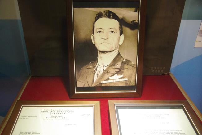 從美籍志願大隊到後來的第14航空軍,陳納德一直是部下心目中不可替代的領袖。這次也展出他寫給殉職部屬史考特遺孀的兩封信。(記者程嘉文/攝影)
