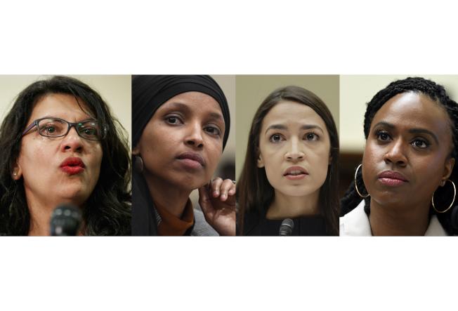 川普總統再次點名民主黨的「四人幫」年輕聯邦眾議員,左起密西根州的特萊布、明尼蘇達州的歐瑪、紐約州歐凱秀及麻州普斯莉,四人15日舉行記者會反擊川普的批評。(美聯社)