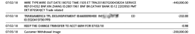 7月2日和7月5日杜女士分別匯款44萬元和20萬元至張鑫帳戶。(杜女士提供)