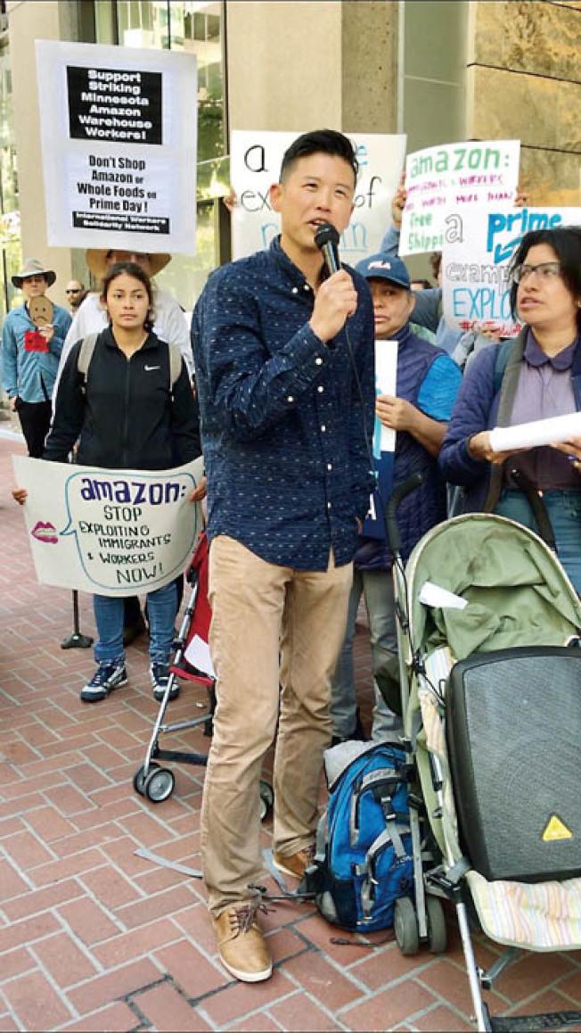 「工作正義」組織行政主任孔祥風反對移民家庭遭受分離。(記者黃少華/攝影)
