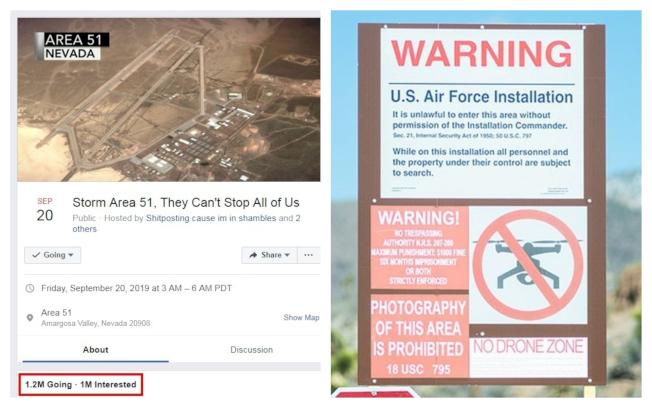 美國內華達州空軍基地以「51區」(Area 51)聞名,數十年來,陰謀論者一直認為那裡是政府研究外星人和存放相關殘骸的祕密基地。日前臉書上就有人發起要「硬闖51區去看外星人」的活動,竟吸引逾百萬人響應。美軍獲悉也慎重其事的出面警告。取材自臉書