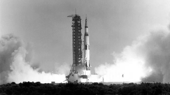 1969年7月16日阿波羅11號升空的畫面。(Getty Images)