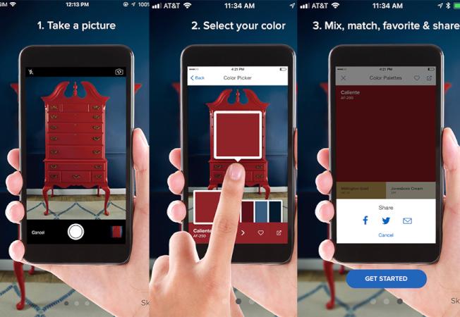 Benjamin Moore出品小軟體「Color Capture」可以通過攝像頭抓取現實中你喜歡的顏色。(Benjamin Moore的社交媒體賬號)