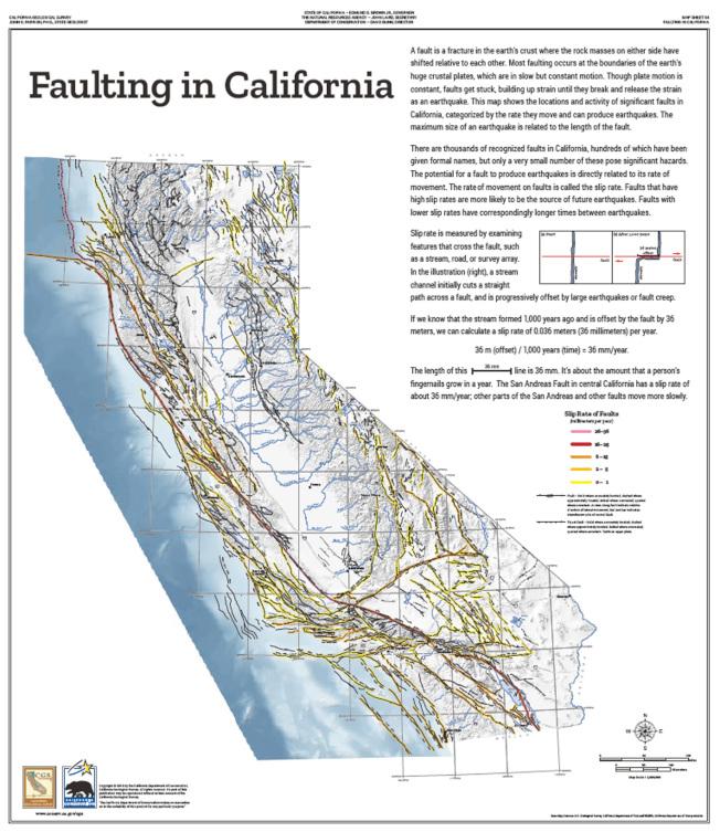 加州地震斷層圖顯示,大半個加州都處於地震斷層上,全加州58個郡縣中有35個縣的100多個城市處於一個或以上斷層上。(加州環境保護局,Dept. of Conservation)