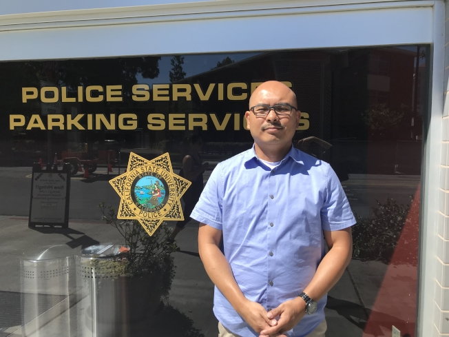 不用 聖荷西州大警察局發言人山多斯介紹案情。(記者梁雨辰/攝影)