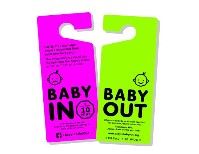BabyIn一面畫有眉頭緊皺的嬰兒表情,提醒父母車內有嬰兒,反面BabyOut,畫有嬰兒笑臉,提醒鎖車前要檢查嬰兒情況。(BabyIn BabyOut提供)