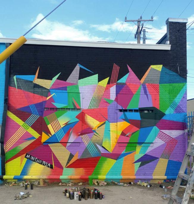 蒙地法洛以過去的作品為概念,以幾何多彩的設計,歌頌紐約市的多元文化。(蒙地法洛提供)