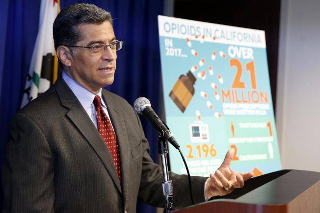 加州檢察長貝塞拉說,已向普度製藥公司提訟,指控該公司及前總裁塞克勒行銷,促成美國藥物濫用危機。(美聯社)