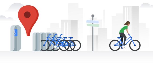 Google地圖於全球24個城市推出共享單車即時資訊查詢功能。(圖:Google台灣官方部落格)