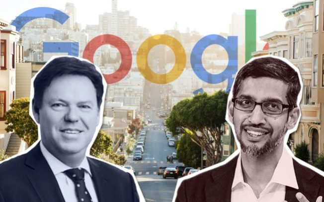Google與地產發展商「Lendlease」合作,在矽谷山景城、桑尼維爾和聖荷西市中心,發展商住計畫,發展經濟總值150億元。圖為Google和Lendlease兩家公司的執行長。(取自推特)