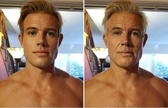 網友發起全新的變臉挑戰,帥哥透過軟體「變老」。(取材自推特)