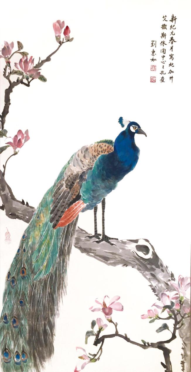劉惠如老師展出孔雀畫作。