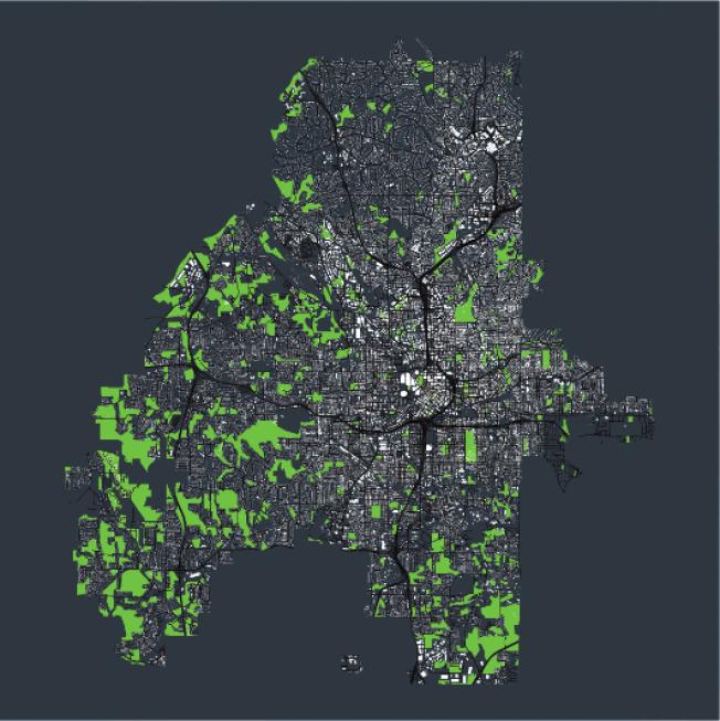 亞城綠地地圖。(取自GeoTab)