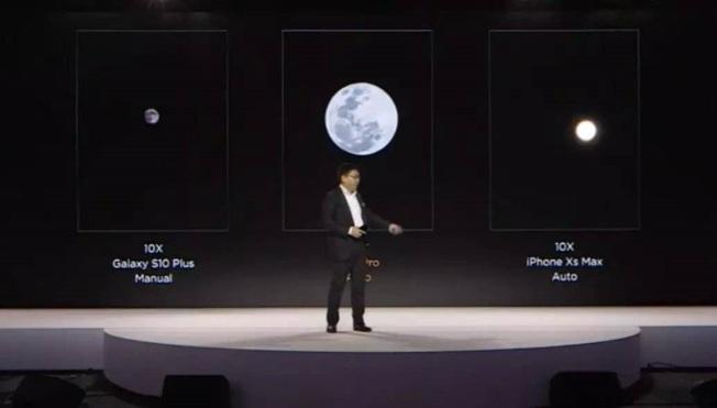 華為消費者業務CEO余承東4月介紹P30 Pro拍攝月亮技術。(取材自微博)