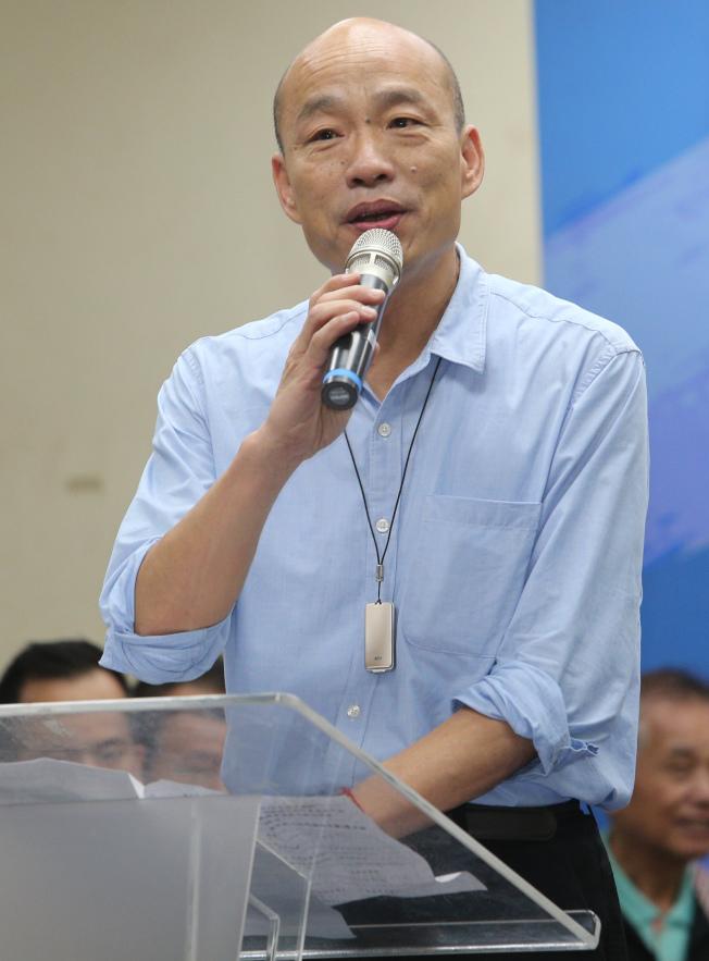 高雄市長韓國瑜定調「市政即選舉」,面對選舉問題一概只回應「謝謝」。(記者劉學聖/攝影)