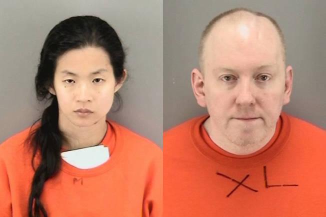 甄家女兒史蒂芬妮(左)及白人夫婿羅馬斯,被控肢解父親甄仲民。(記者李秀蘭/攝影)