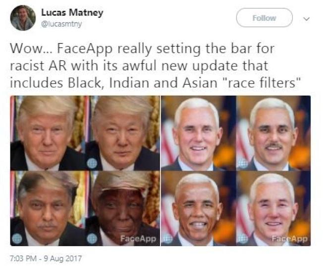 FaceApp有換臉功能,可以變成亞裔、白人、黑人或印度臉孔,圖為川普總統及副總統潘斯的不同臉孔造型。(推特)