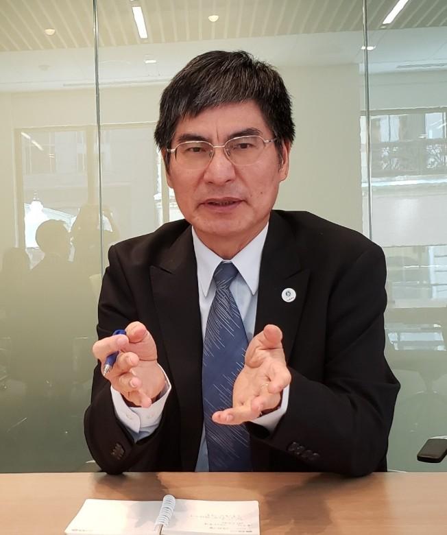 中華民國科技部長陳良基在波城談訪美成果。(記者唐嘉麗/攝影)
