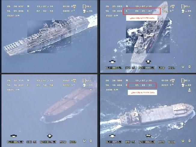 伊朗革命衛隊發布的錄像截圖顯示,伊朗無機飛越一艘航母、一艘戰艦、一艘油輪及一艘其他船隻。伊朗宣稱,所有無人機均安返基地。(Getty Images)