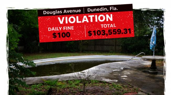 一名佛州婦人已經搬離的舊家,由於游泳池池水骯髒,庭院雜草叢生,遭到鄧尼汀市政府開罰9萬2600元,加上逾期未繳的利息與其他手續費,罰鍰總額高達10萬3559元。(WTSP電視台截圖)