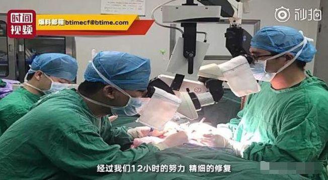 經過12小時的手術,小張目前沒有生命危險。(視頻截圖)