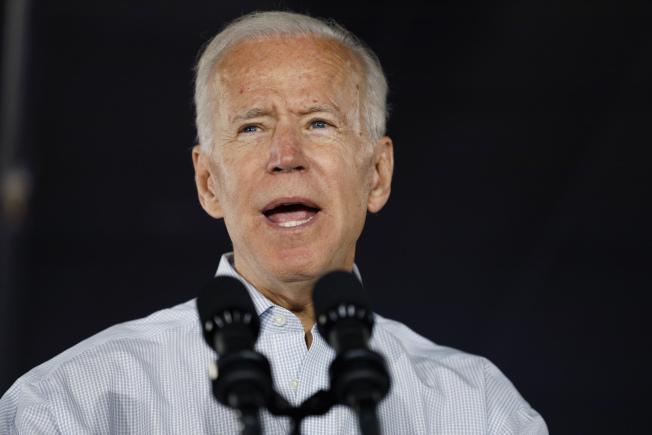 力爭民主黨提名競選總統的前副總統白登(Joe Biden)。美聯社